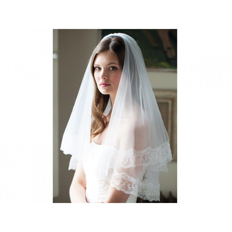 Empress - A simply elegnt waist length veil in Italian tulle, finished with contemporary Italian lace edging with lustrous finish. £149.00