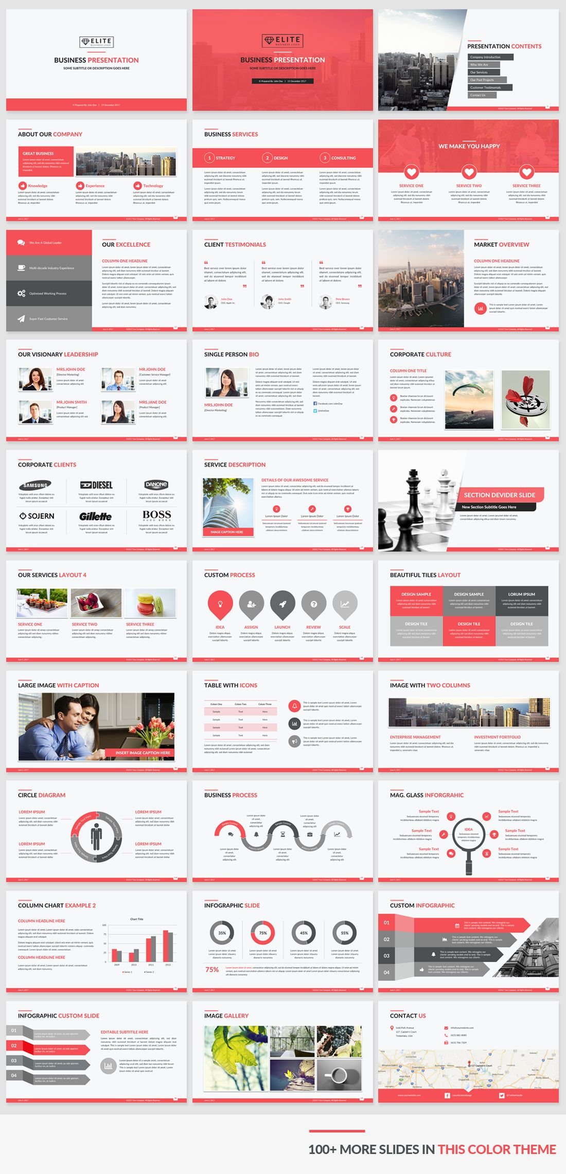Corporate presentation template red color preview available in 5 corporate presentation template red color preview available in 5 unique color themes and all 5 templates toneelgroepblik Choice Image