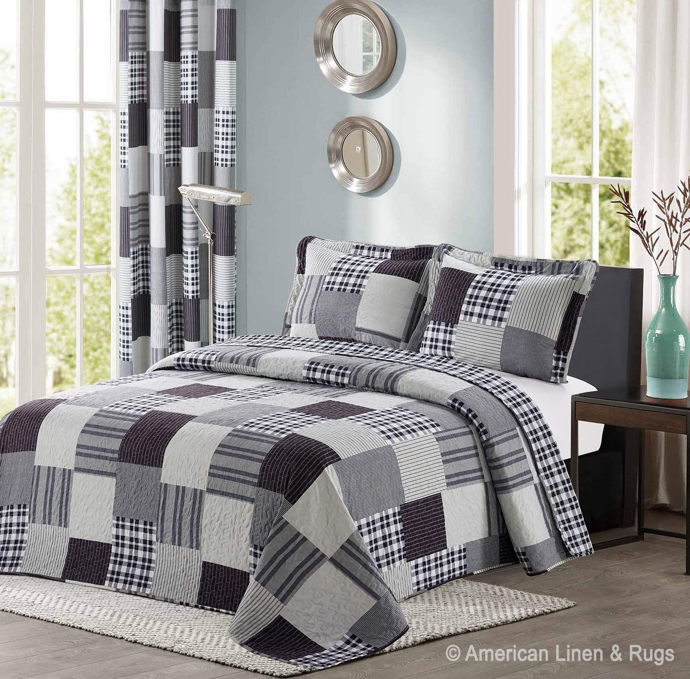 All American Collection Black And Grey Modern Plaid 3 Piece Queen