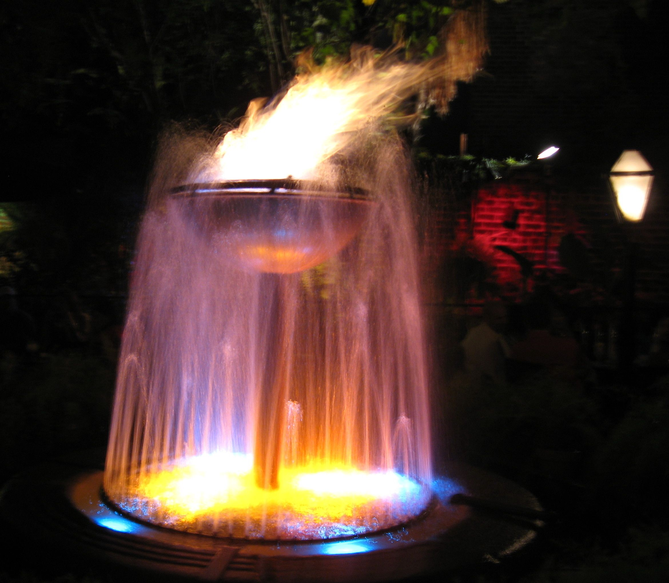 inspiration exterior beautiful fire fountain in the night with round