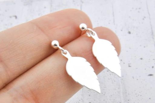 Kolczyki Liscie Srebrne Listek Listki Srebro 925 Belly Button Rings Earrings Jewelry