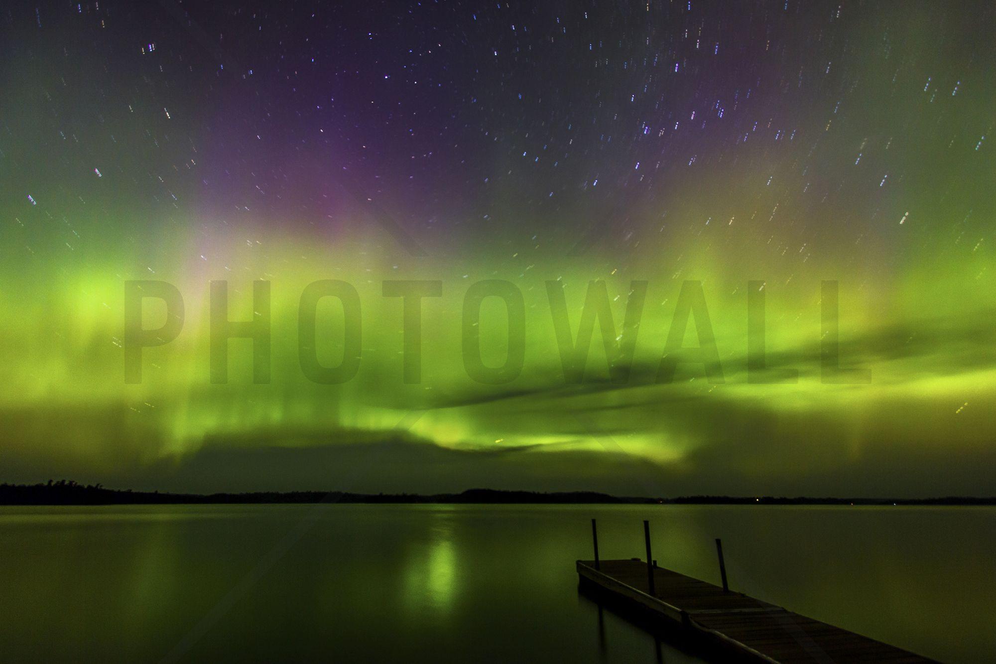 Aurora Borealis over Burntside Lake Wall Mural & Photo