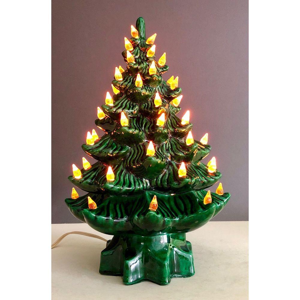 Vintage Ceramic Christmas Tree Musical Silent Night Green 15 Inch Light Up Unbranded Vintage Ceramic Christmas Tree Ceramic Christmas Trees Christmas Tree