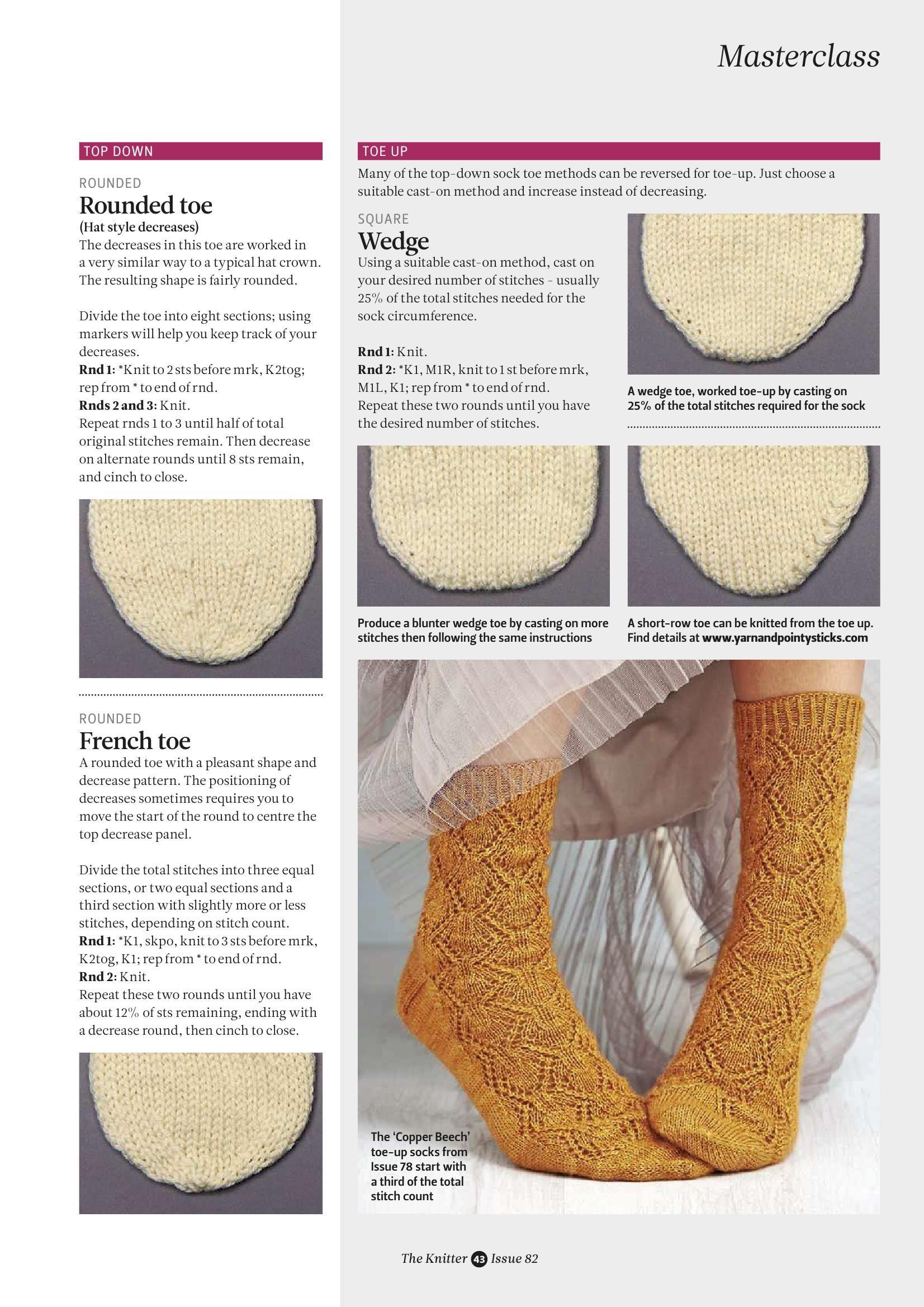 Masterclass: toe styles for socks part 4 | Knit charts | Pinterest ...