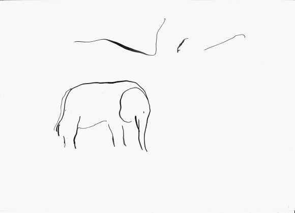 Minimalist Elephant Drawing: Elephant, Minimalist Drawing 21x28 Cm