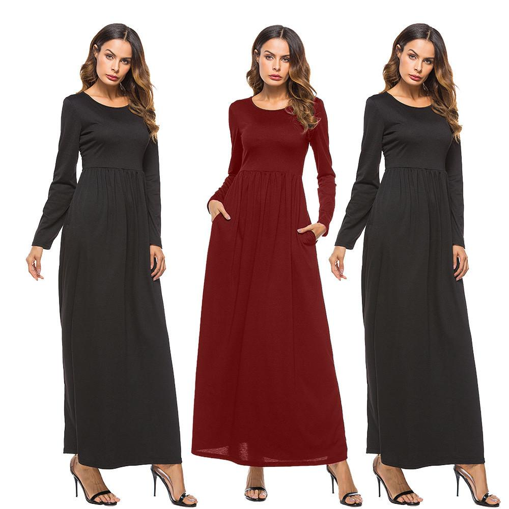 Sexy women dress pocket o neck long sleeve dress evening party long