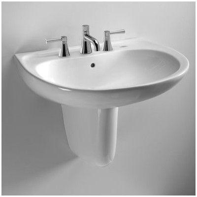 "Supreme Ceramic 22"" Wall Mount Bathroom Sink With Overflow  Wall Magnificent Wayfair Bathroom Sinks Decorating Design"