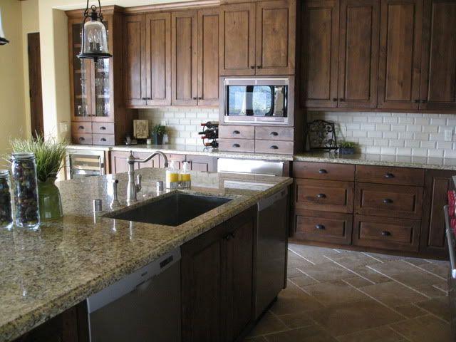 dark stained knotty alder with granite | Help! dark brown ...