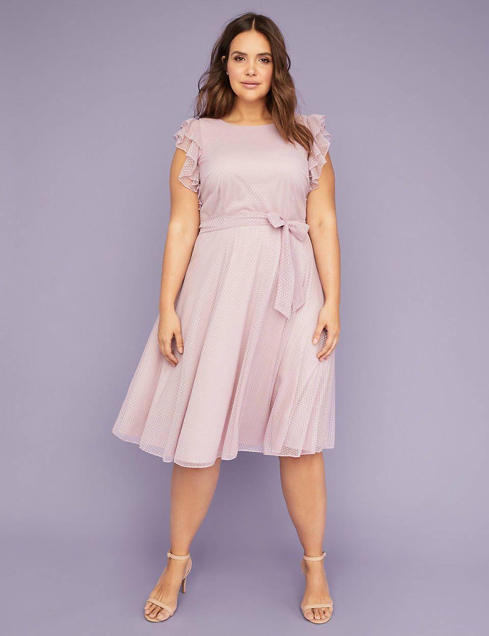 Dot Mesh Flutter Sleeve Fit & Flare Midi Dress | Lane Bryant ...