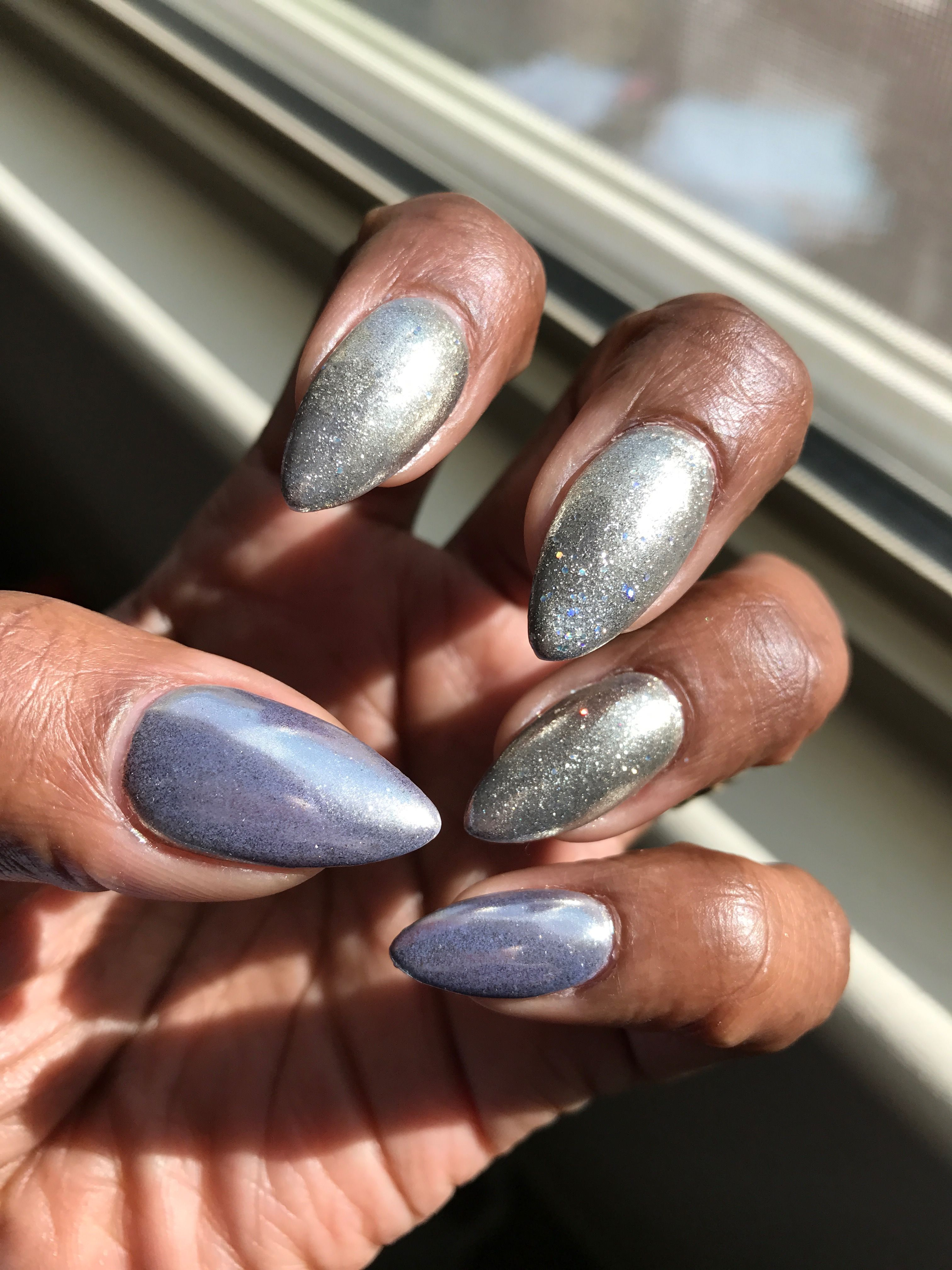 Super Cute Kiara Sky Dip Powder Overlay On My Natural Nails With Gelish Polish And Chrome Powder Gorgeous Natural Nails Dip Powder Nails How To Do Nails