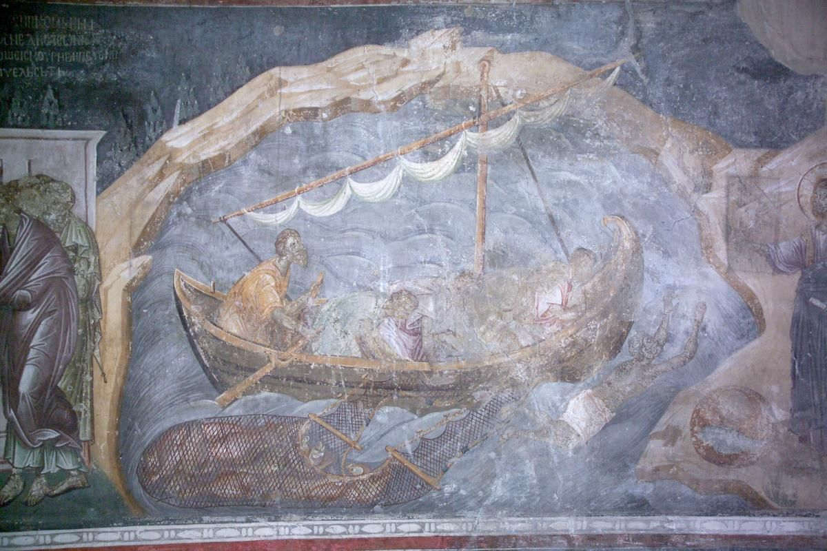 n1-w1e5-25.jpg 1,200×800 pixels. Miracle on the Sea of Tiberias: pulling out the net full of fish (John 21:1:-14. 4. But when the morning was now come, Jesus stood on the shore: but the disciples knew not that it was Jesus.5. Then Jesus saith unto them, Children, have ye any meat? They answered him, No. 6. And he said unto them, Cast the net on the right side of the ship, and ye shall find. They cast therefore, and now they were not able to draw it for the multitude of fishes.)