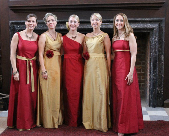 bc2ebf20947d Red and gold bridesmaids | Travis and Lizzrd Tie the Knot in 2019 ...