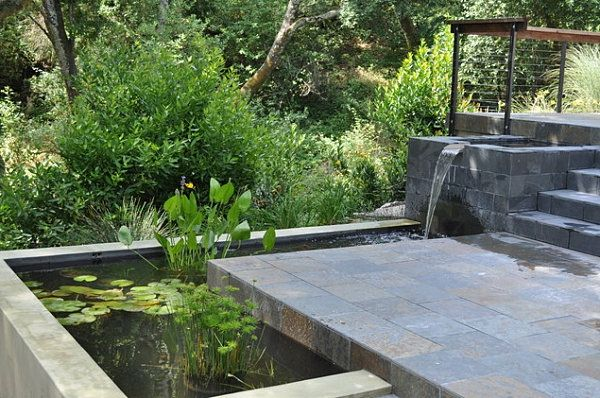 Wasserfall Gartenteich Stein Beton Becken Seerosen Garten Gartenteich Schattengarten