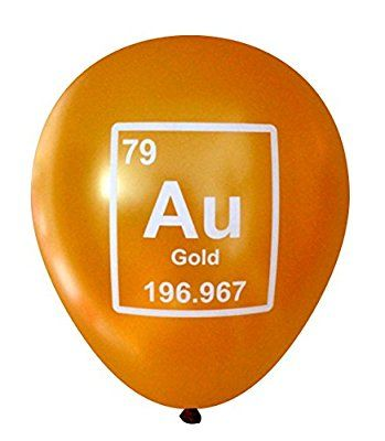 Gold (Au) Periodic Table Element Balloons - 16 pcs by Nerdy Words - best of periodic table joke au