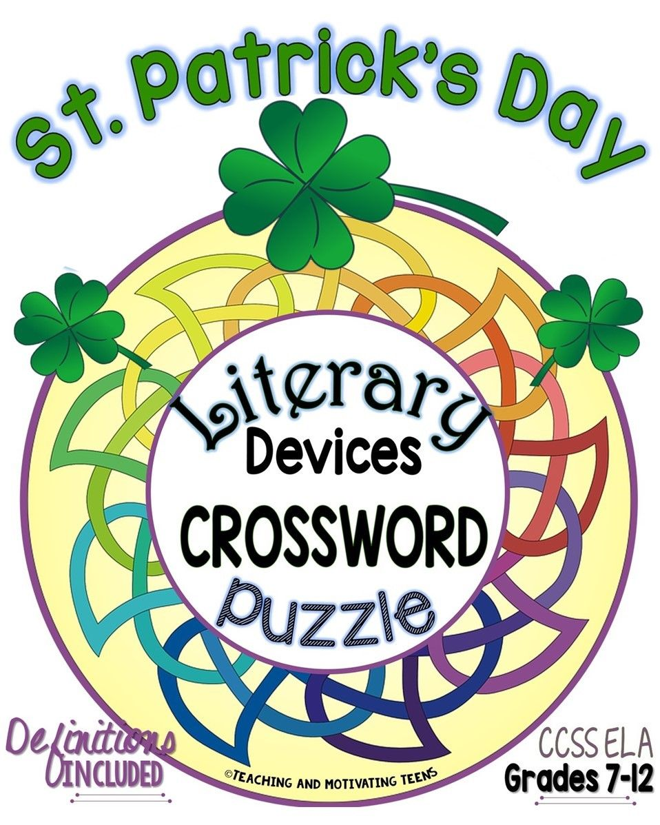 St Patricks Day Literary Devices Terms Crossword Puzzle Ela 8