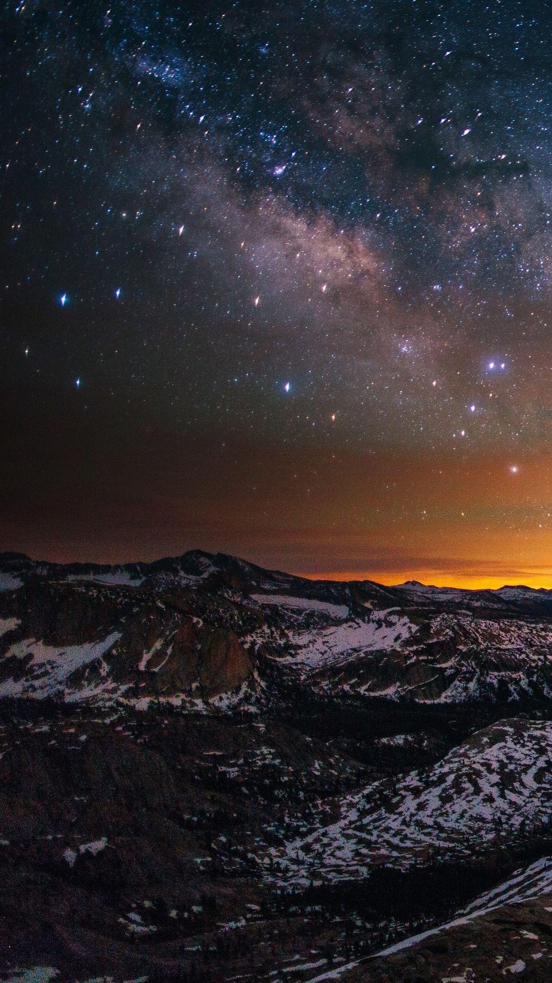 Earth Landscape Galaxy Stars (1080x1920) Mobile Wallpaper