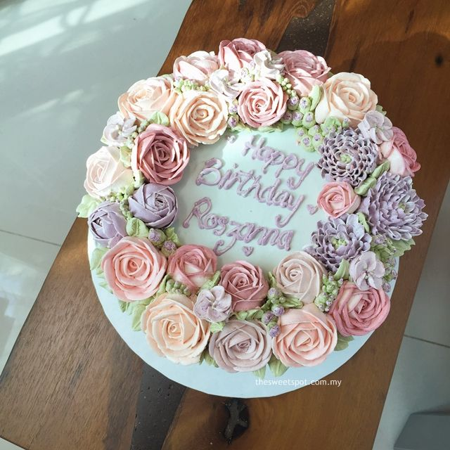 cream pink and violet buttercream flower cake buttercream http