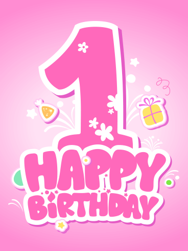 Pink Happy 1st Birthday Card Its That Time A Special Little