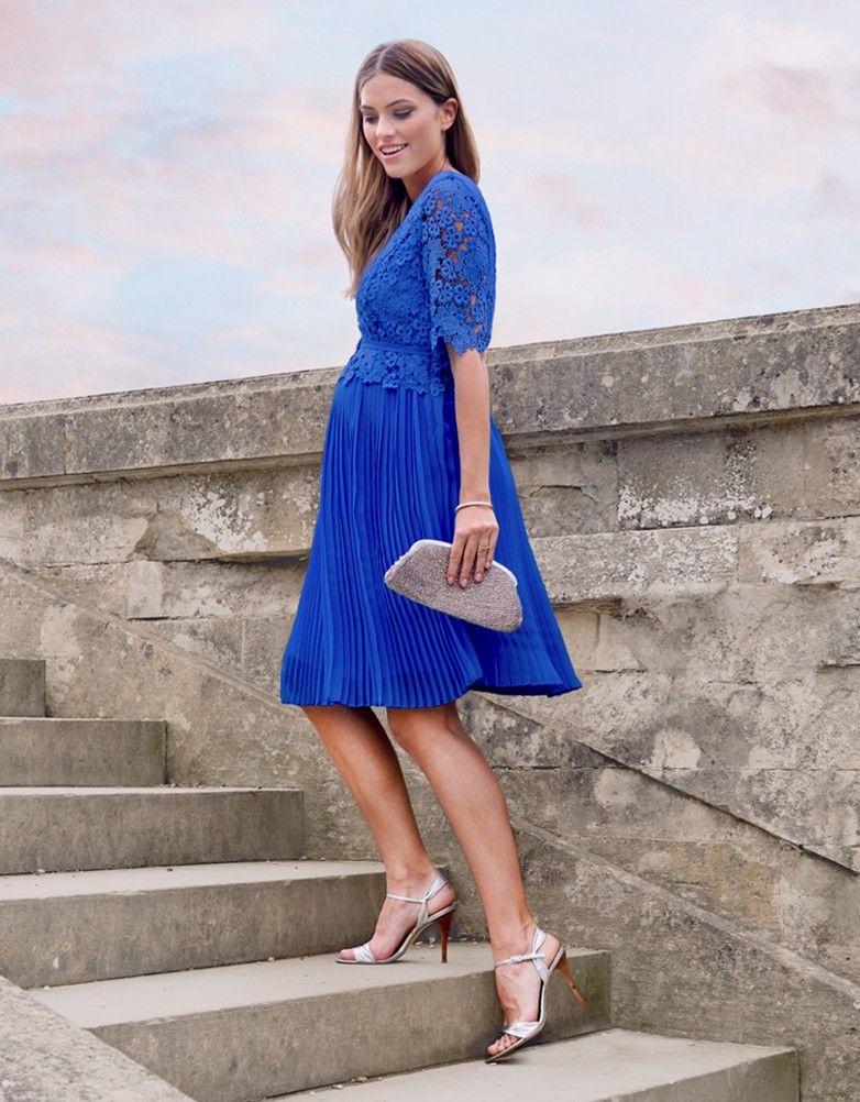 9efa91b556 Sapphire Lace Top Pleated Maternity Dress