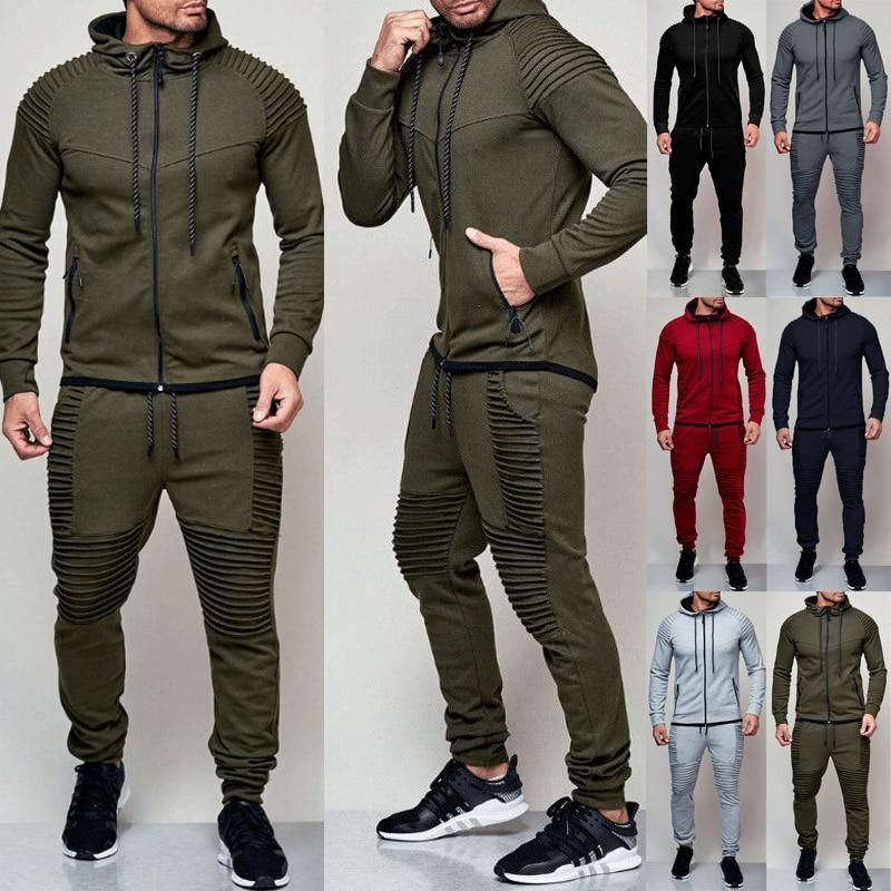2019  MENS CASUAL SWEAT TOPS+PANTS TRACK JACKET COATS ZIPPER GYM SPORT SUIT