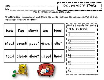 Word study packet - ou, ow | Teach it  | Word study, Phonics reading