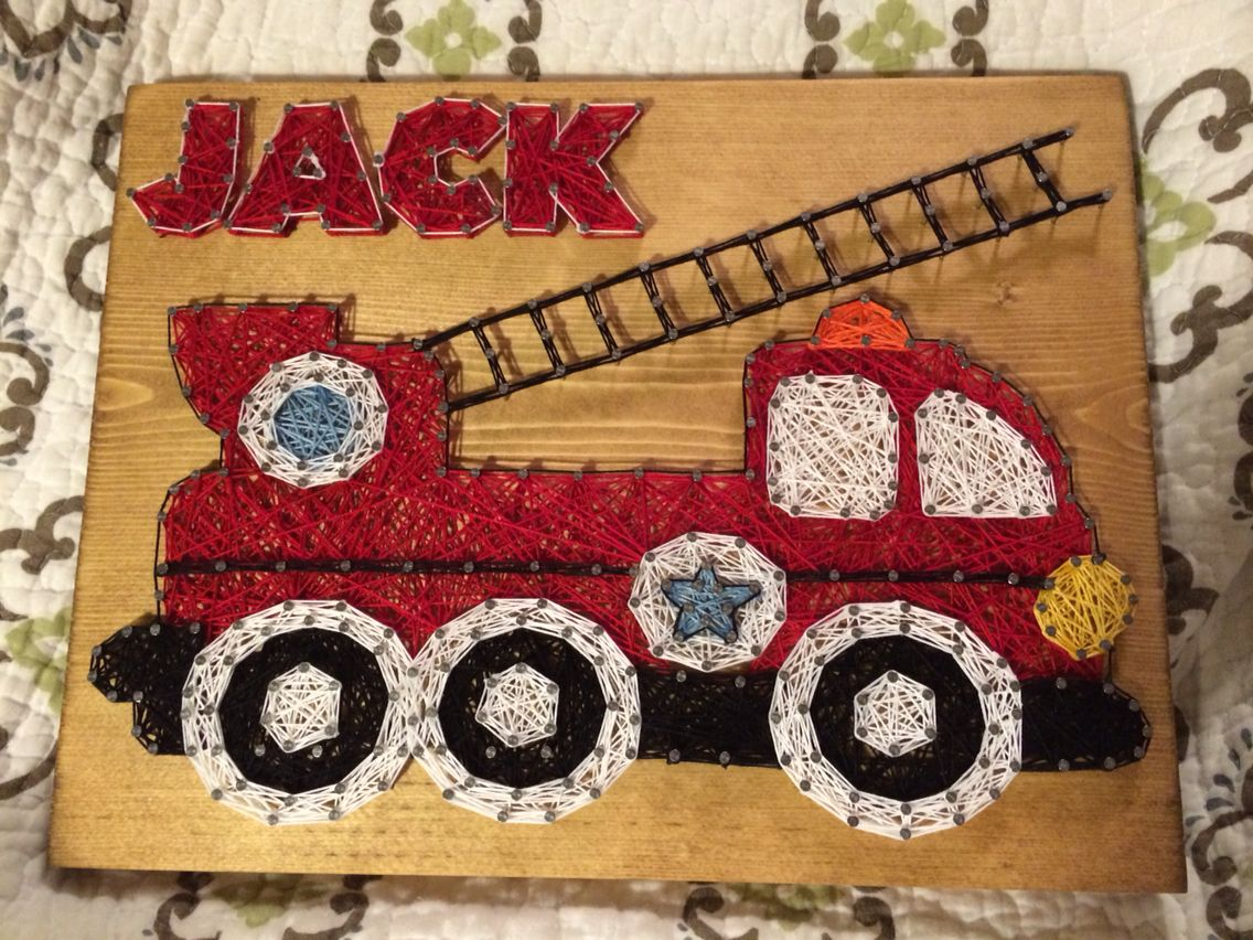 CUSTOM Fire Truck String Art Order