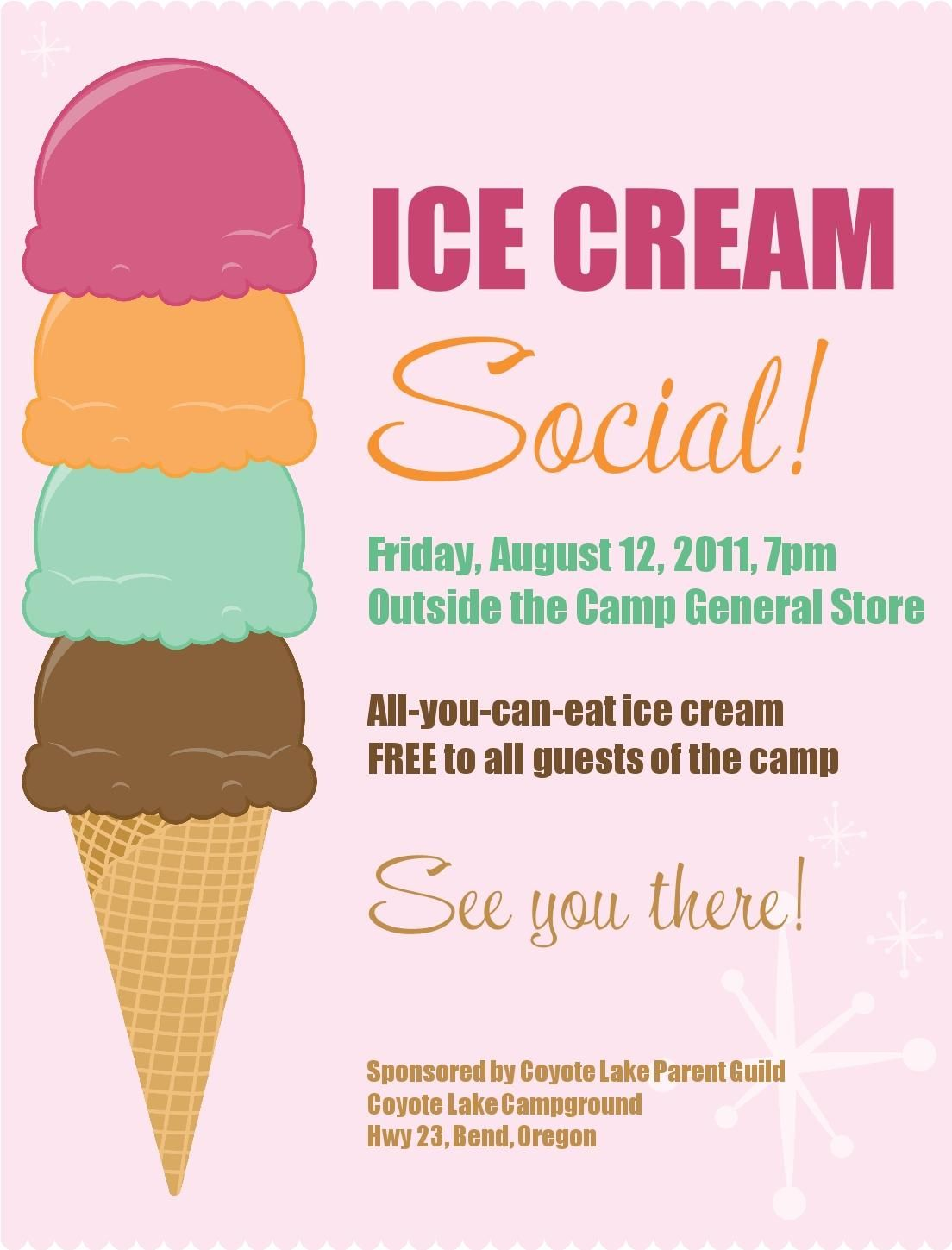 Ice cream social free printable | PTA Ideas | Pinterest