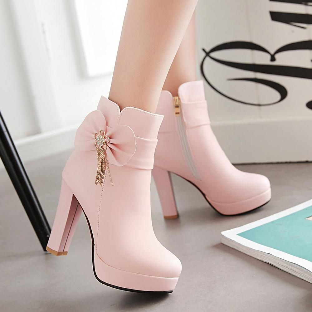 Shoes for light pink dress  Bow tie and velvet Martin boots YV  Martin boots Black high
