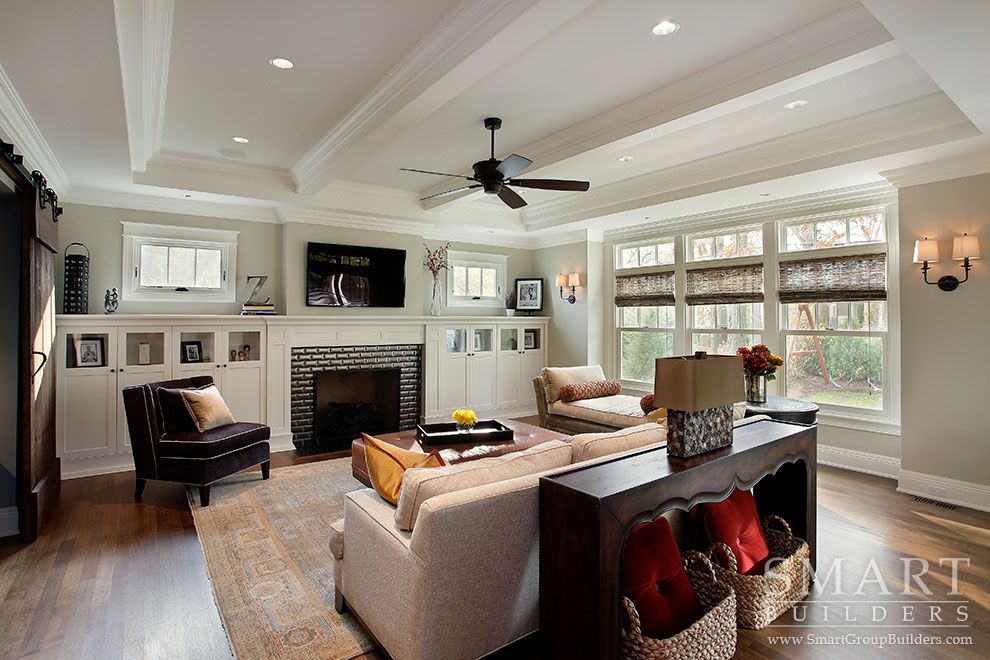 Modern craftsman style living rooms living room for Acme kitchen cabinets calgary