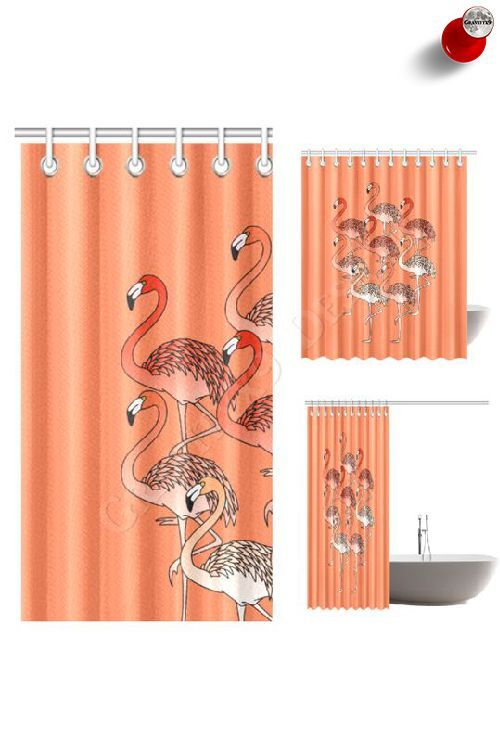 Living Coral Color Flamingos Shower Curtain By Gravityx9 At