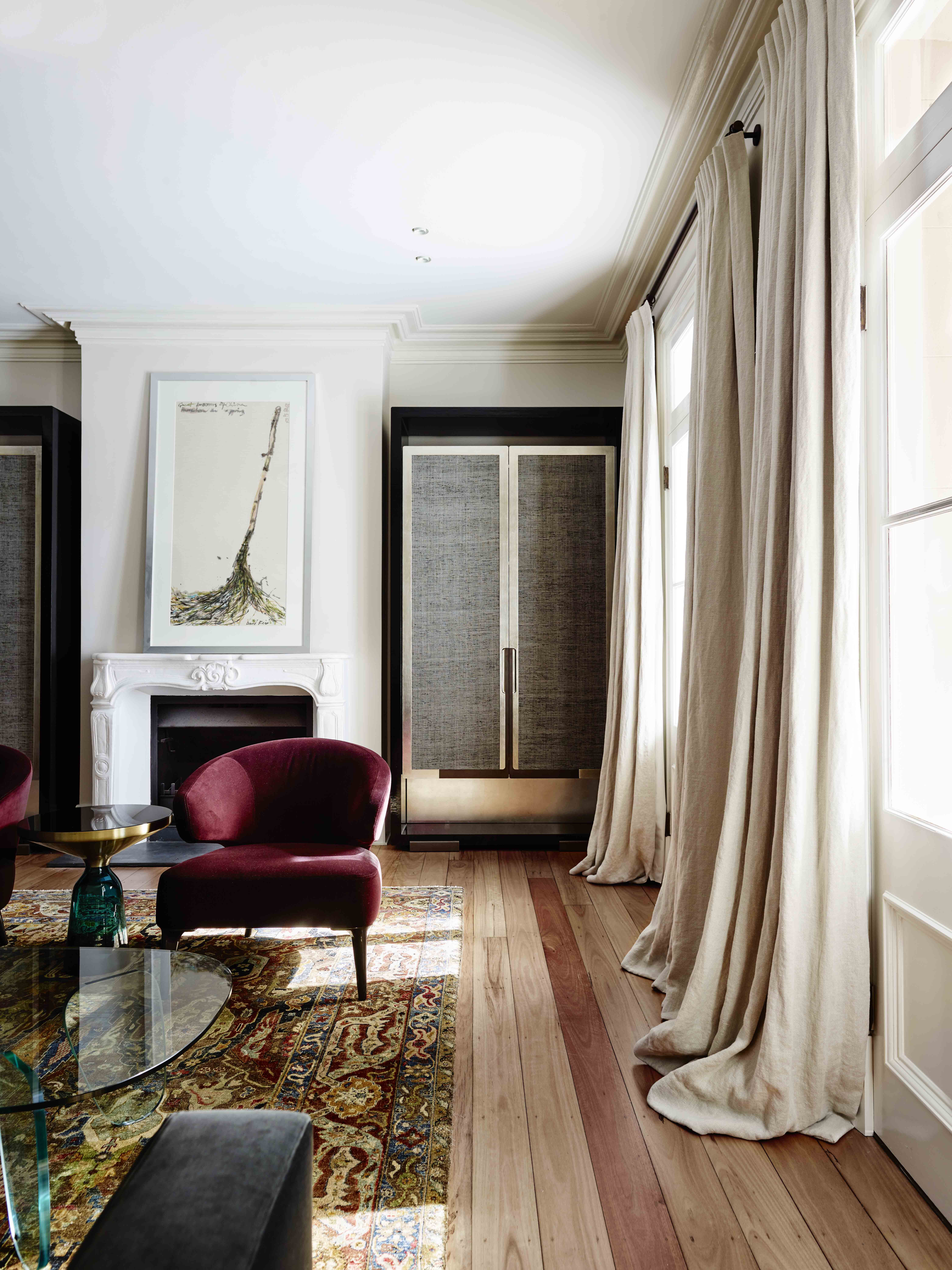 Sydney Heritage House Living Room With Linen Curtains Chinoiserie Inspired Joinery And Anatolian Rug