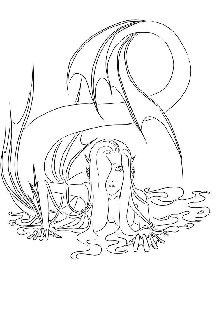mermaid lineart - Google Search | lineart | Pinterest