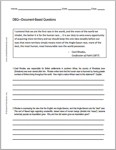 Examples Of Essay Papers Free Printable Imperialism Dbq Worksheet  Excerpt From Cecil Rhodes  Confession Of Faith  Sample Persuasive Essay High School also Locavores Synthesis Essay Free Printable Imperialism Dbq Worksheet  Excerpt From Cecil Rhodes  Health Care Essay