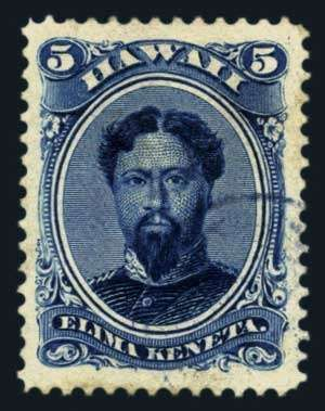 U.S. Possessions; Hawaii, 1890, 5c Deep Indigo, #52C, used, grade 85 Very Fine to Extremely Fine, PSE (2014) cert. SMQ $300. Estimate $180-2...