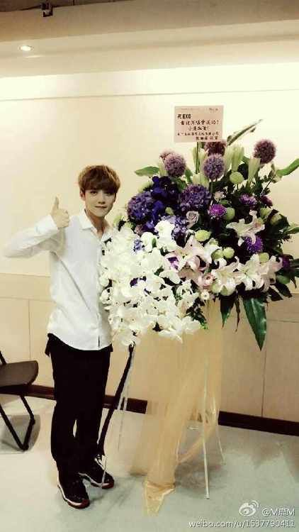 """140711 Luhan Weibo Update:  """"Thank you Bo Lin ge for the flowers, I was really happy today, thank you guys for the support, and I will continue to work hard!"""""""