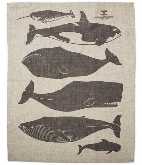 Whales Tea Towel by enormouschampion on Etsy