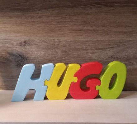 Lettres prénom puzzle Hugo en bois de hêtre massif entièrement fait