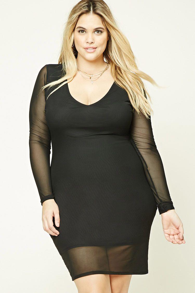 Plus Size Mesh Bodycon Dress | Forever 21 PLUS - 2000194415 ...