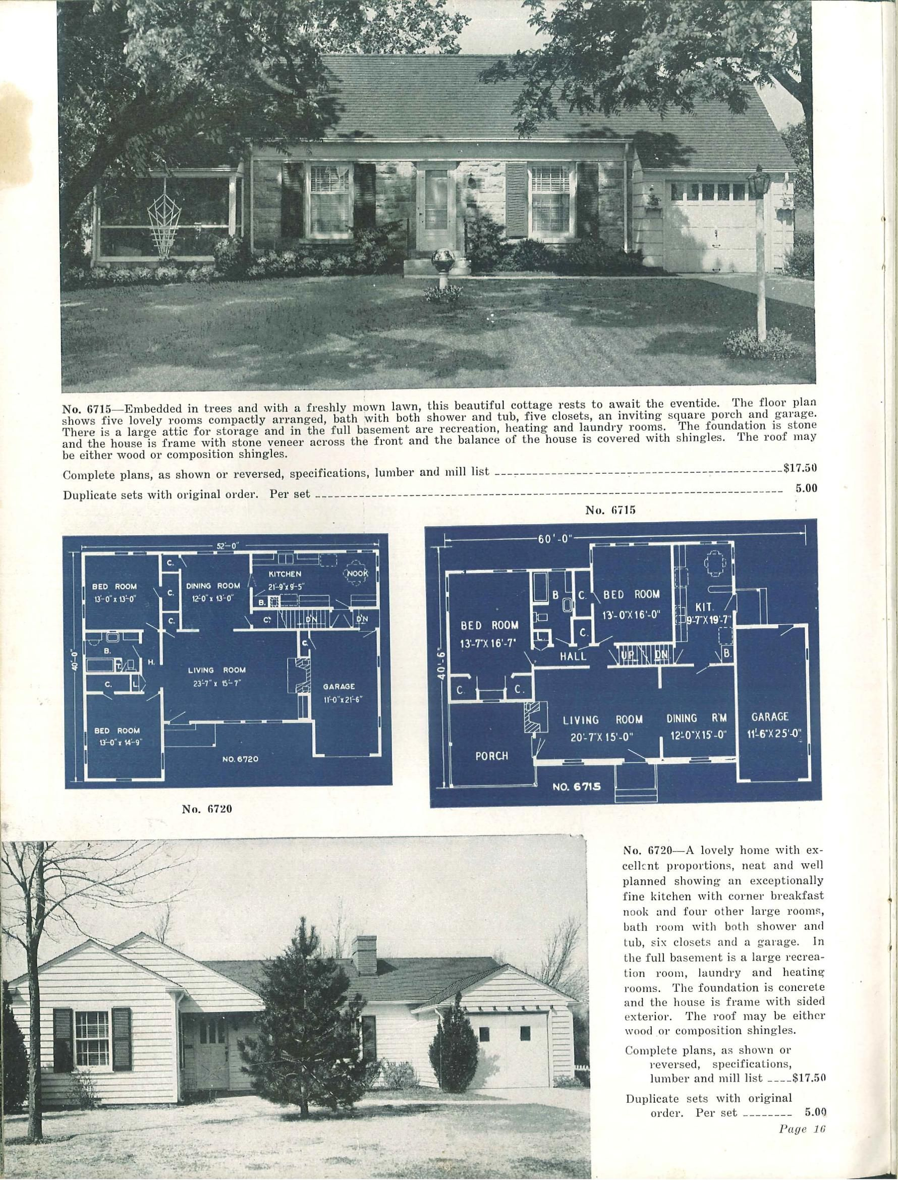 Plan No. 6715 & 6720 - Ranch and suburban homes, second edition. by ...