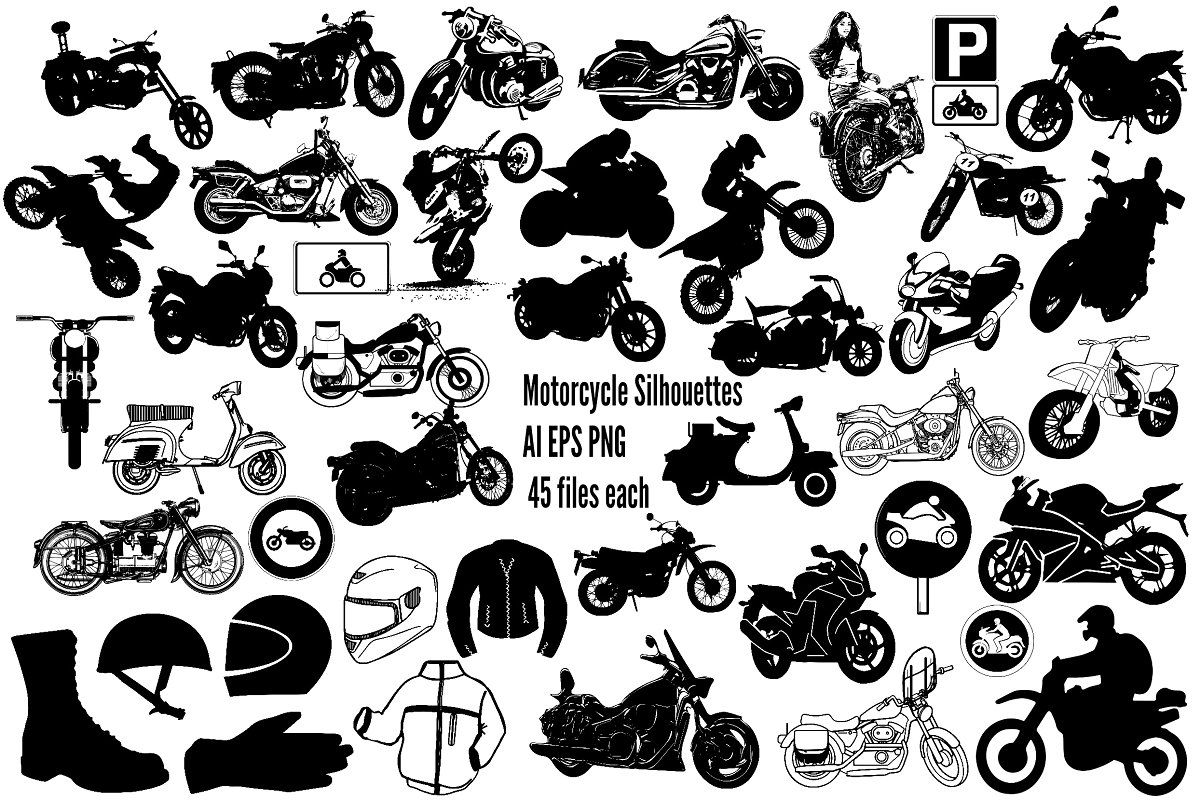 Motorcycle Silhouettes Ai Eps Png Silhouette Vector Silhouette Unique Fonts