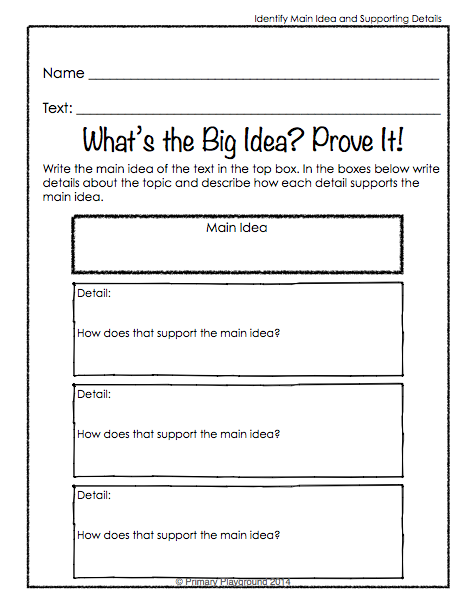 Reading Graphic Organizers For Non Fiction Topic Details