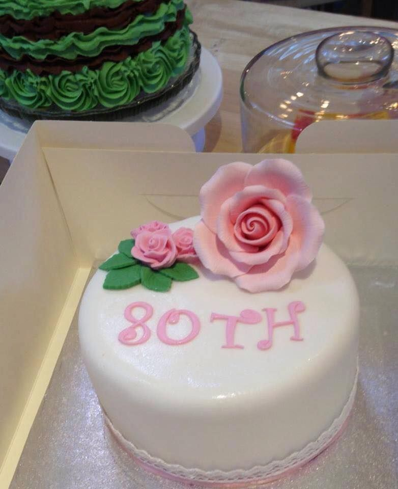 Plain White Pink Rose Ladies 80th Birthday Cake Cake