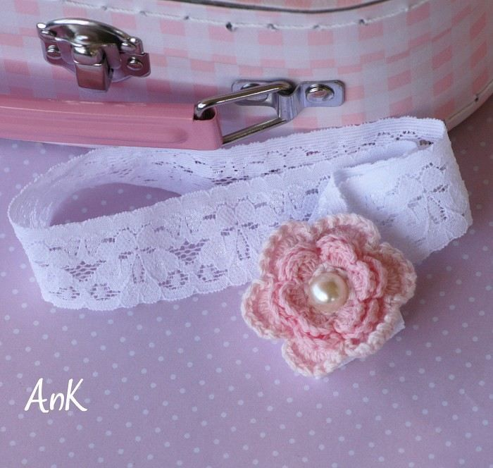 Eliza Baby Stretch Lace Headband - Crochet Flower ank