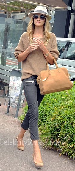 Rosie Huntington-Whiteley wore a camel cashmere The Row Corby Sweater arriving at Nice Airport in France June 7, 2013