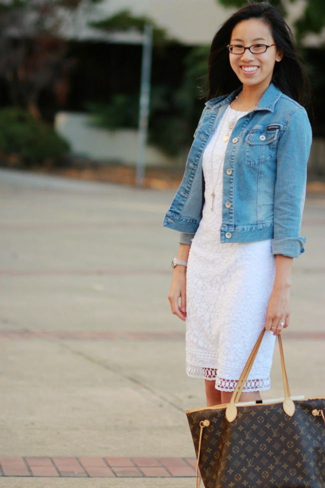 SUMMER WHITE / Keyhole back white lace dress with jean jacket and ...