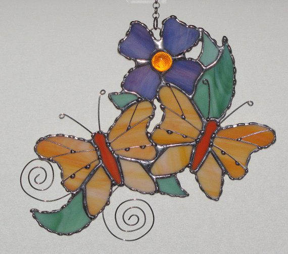 Stained Glass Suncatcher  Peach Butterflies and by GLASSbits, $42.00