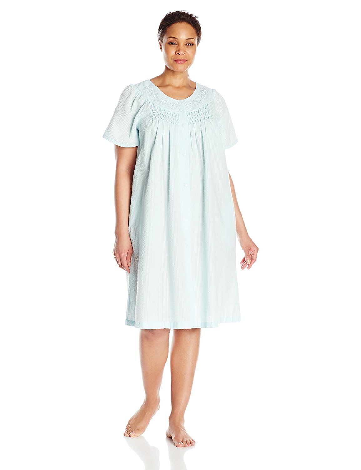 2744a652ee7ca Miss Elaine Women's Plus-Size Seersucker Short Snap Robe, Turquoise, 1X **  See this great image : Plus size tops