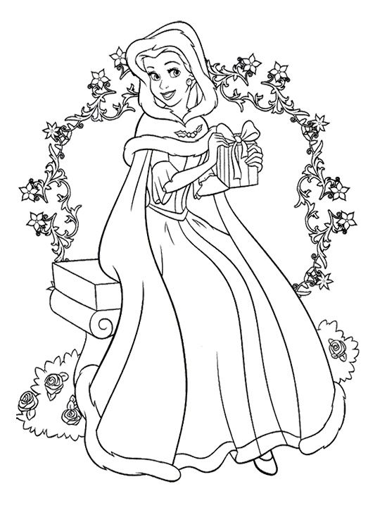 Christmas Disney princess Coloring Page | Coloring pages | Pinterest ...