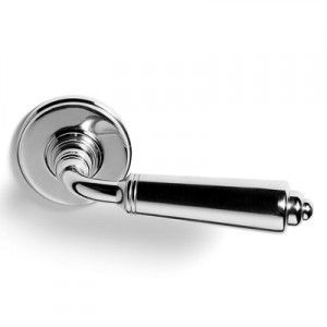 Fersa Art Deco lever handle in polished nickel finish on brass.