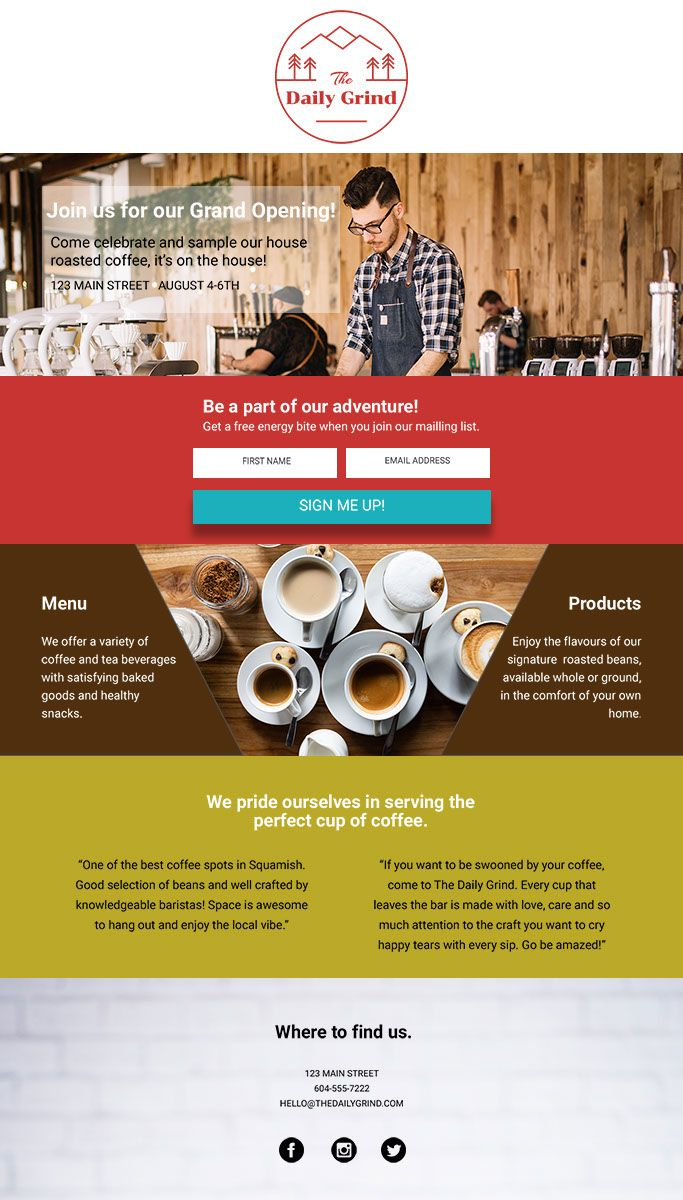 Vanessa Bucceri Landing Page Design For The Launch Of The Daily Grind Coffee Shop Web Design Custom Branding Web Design Inspiration